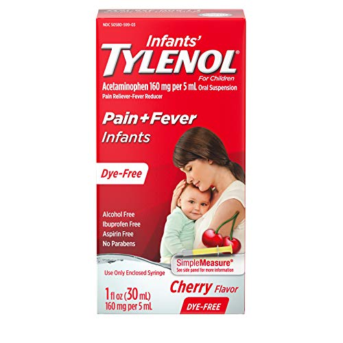 Infants' Tylenol Liquid Medicine with Acetaminophen, Pain + Fever Relief, Dye-Free Cherry, 1 fl. oz