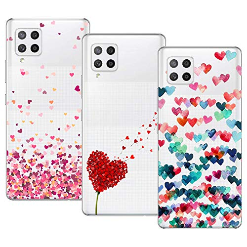 Young & Min Funda para Samsung Galaxy A42 5G, (3 Pack) Transparente TPU Silicona Carcasa Delgado Anti-Choques con Dibujo de Corazón