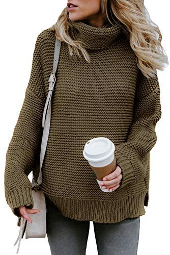 FIYOTE Damen Sweater Strickjacke Rollkragen Gefüttert Cardigan Zopfmuster V-Ausschnitt Hoodies