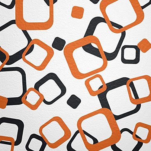 WANDfee® Wandtattoo Vierecke 60 Aufkleber FARBWUNSCH Wandaufkleber Kinderzimmer Fliesenaufkleber Badezimmer Küche orange schwarz