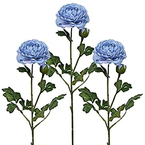 Silk Flowers Ranunculus Bulbs Artificial Peony Buttercup Bulbs for Wedding Home Party Decoration-Fake Blue Flower