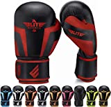 Elite Sports Boxing Gloves for Men, Women, and Kids, Kickboxing Punching Bag Pair of 2 Gloves (Red 12 Oz)