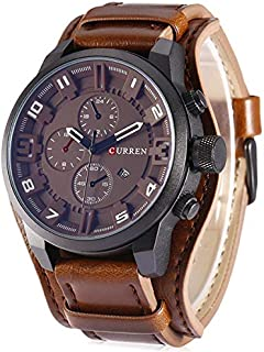 Curren 8225 Casual Decorative Sub-dial Male Quartz Watch Brown watch for Men - Casual Watch Brown
