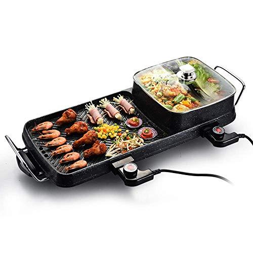 Fondue Hot Pot parrilla eléctrica, Negro moderno de dos-en-uno de los hogares Parrilla eléctrica olla caliente la plancha en el crisol de humo Máquina libre antiadherente.