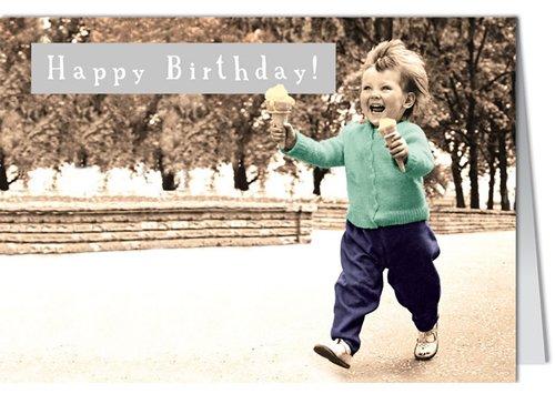 Grußkarte MINI +++ LUSTIG von modern times +++ HAPPY BIRTHDAY! KIND MIT EIS +++ BK.EDITION Pigment Productions Ltd