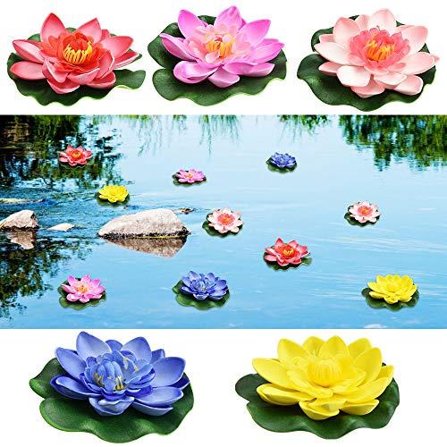 PERFETSELL Schwimmende Blumen Künstliche Seerosen Eva Lotus 5 Stück Wasserlilie Pflanzen 10cm Teichrose Eva-Schaum Seerose Lotusblüte für Aquarium Terrasse Garten Pool Garten Teich