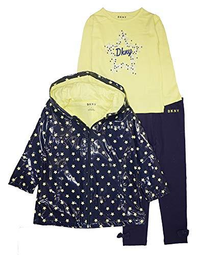 DKNY Little Girls' Rain Jacket 3pc Legging Set (4, Eclipse)