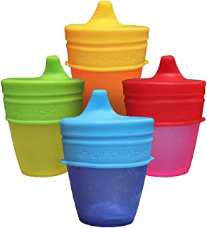 Sippy Cup Lids by MrLifeHack - (4 Pack) - Makes Any Cup Or Bottle Spill Proof - 100% BPA Free Leak Proof Silicone - Perfect for Toddlers & Babies