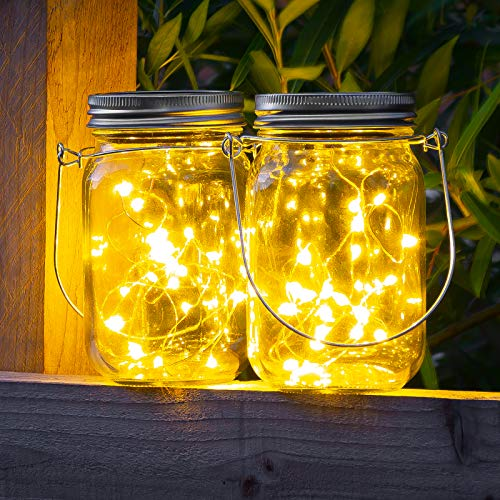 GloBrite 2 Pack Hanging Solar Mason Jar Lid Lights, 20 Led (Each) String Fairy Lights Solar Laterns Table Lights - Great Outdoor Lawn Decor for Patio Garden, Yard and Lawn.