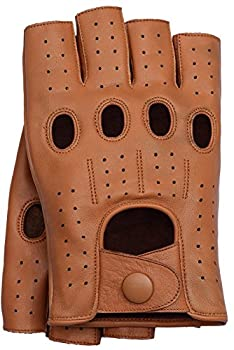 Riparo Motorsports Men s Fingerless Half Finger Driving Fitness Motorcycle Cycling Unlined Leather Gloves  XXX-Large Cognac