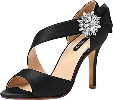 Amazon.com | ERIJUNOR High Heel Party Sandals For Woman Open Toe Stiletto  Bow Shoes Wedding Evening Dress Shoes for Dancing | Heeled Sandals