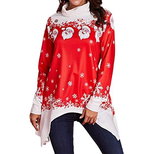 Sweat Femme Sweat Noël Femme à Manche Longue Sweat-Shirt Asymétrique Père Noël Imprimé Loose Pull Rouge Shirt Sweat Pas Cher S - 2XL