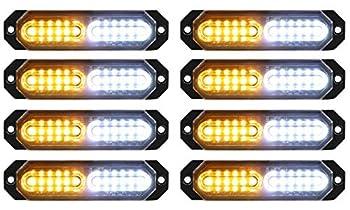 ASPL 8pcs Sync Feature Ultra Slim 12-LED Surface Mount Flashing Strobe Lights for Truck Car Vehicle LED Mini Grille Light Head Emergency Beacon Hazard Warning lights  Amber/White