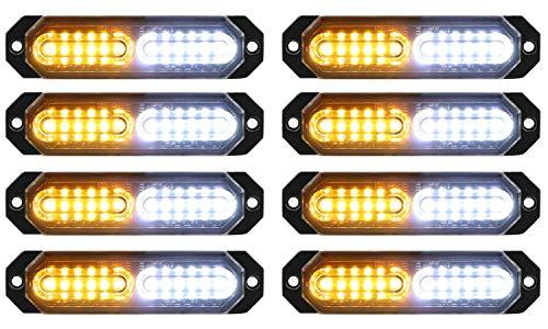 ASPL 8pcs Sync Feature Ultra Slim 12-LED Surface Mount Flashing Strobe Lights for Truck Car Vehicle LED Mini Grille Light Head Emergency Beacon Hazard Warning lights (Amber/White)