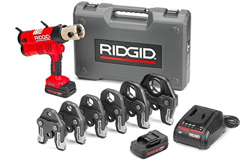 RIDGID RP 340-B Press Tool Kit - 43358 Hydraulic Crimping Tool With ProPress Tool Jaws - PureFlow, MegaPress, Standard Series Jaws and Rings Compatible (Cordless)