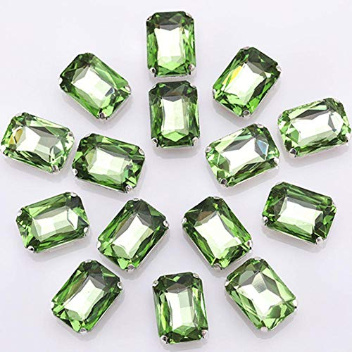 Decorative Rectangle Glass Sew On Stone with Claw Loose Flatback Craft Gems Colorful Crystal Stone for Clothing 10PCS S073