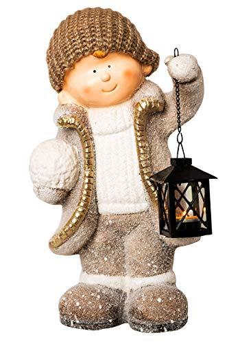 Wichtelstube-Kollektion XXL 42cm Dekofigur mit Laterne Winterkind Weihnachten Deko Figur Garten Weihnachsdeko