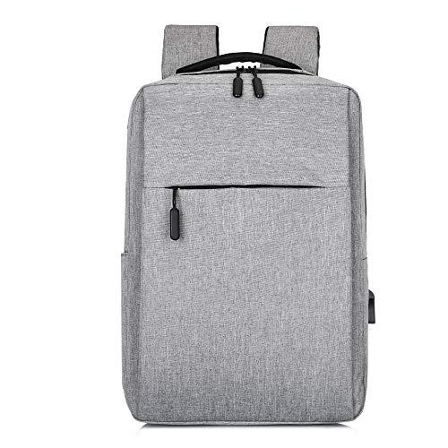 Shoulder Bag Casual Fashion Trend Backpack Computer USB Charging Simple Business Man Bag Student Bags Computer Backpack (Color : Grey)