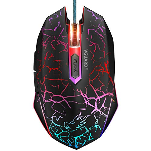 VGUARD Gaming Maus, USB Kabel Mäuse Wired Hohe Präzision Optische Professionelle Gamer Mouse mit 6 Tasten/4 Einstellbarer DPI(800-2400)/LED Design für PC Laptop, Microsoft Pro, Office Home - Schwarz