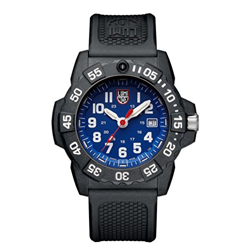 Luminox Navy Seal Mens Watch Blue Dial (XS.3503/3500 Series): 200 Meter Waterproof + Light Weight Carbon Case and Band + Constant Night Visibility