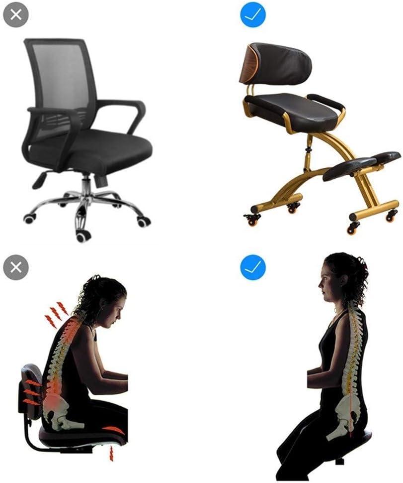 DSHUJC Chaise deBureau réglable,Faux Cuir Ergonomique Genoux Chaise Posture Correction Kneel Tabouret avec Coussin Confortable épais (Couleur: Brun) Noir