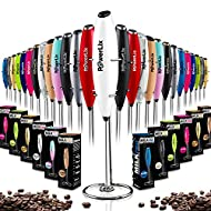 PowerLix Milk Frother Handheld Battery Operated Electric Whisk Foam Maker For Coffee, Latte, Cappuccino, Hot Chocolate, Durable Mini Drink Mixer With Stainless Steel Stand Included (SW)