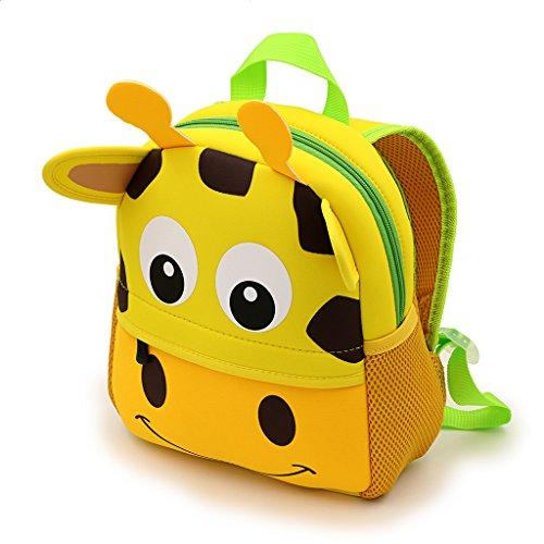 Ignpion - Bellissimo zainetto per bambini, motivo animale stile cartone animato in 3D, ideale per nido d'infanzia o scuola dell'infanzia, Giraffe