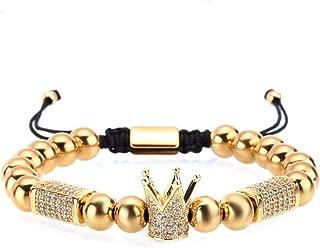 FENGHUIHUI Crown King Charm Bracelet for Men Women Gold Beads Luxury Charm Jewelry for Men Women…