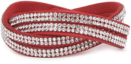 styleBREAKER weiches Strass Armband, eleganter Armschmuck mit Strassteinen, Wickelarmband, 2x2-Reihig, Damen 05040004, Farbe:Rot/Klar