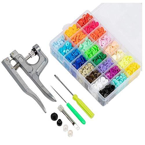 Kit Completo Alicates de Presión + 375 Botones de Resina T5 en 25 Colores Distintos, Artesanías, Ropa de Niño y Manualidades