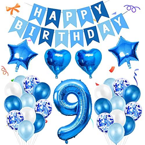 Amycute 9er Decoraciones de Cumpleaños Globos, Feliz Cumpleaños Globos 9 Años Azul, Globos Número 9 Digitales Gigante del Papel de Aluminio, Globos de Confeti de Latex para Fiestas Niños