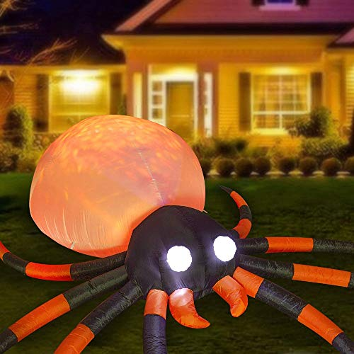 SEASONJOY 12 Ft Long Halloween Inflatables Spider Decorations, Bulti-in Orange LED Lights with Flame Effect, Large Outdoor Halloween Inflatables for Yard Lawn Garden Decor