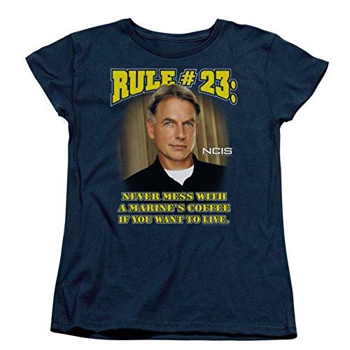 Camiseta feminina NCIS do serviço de investigações criminosas navais Gibbs Rule 23 TV Show, Azul marino, Large