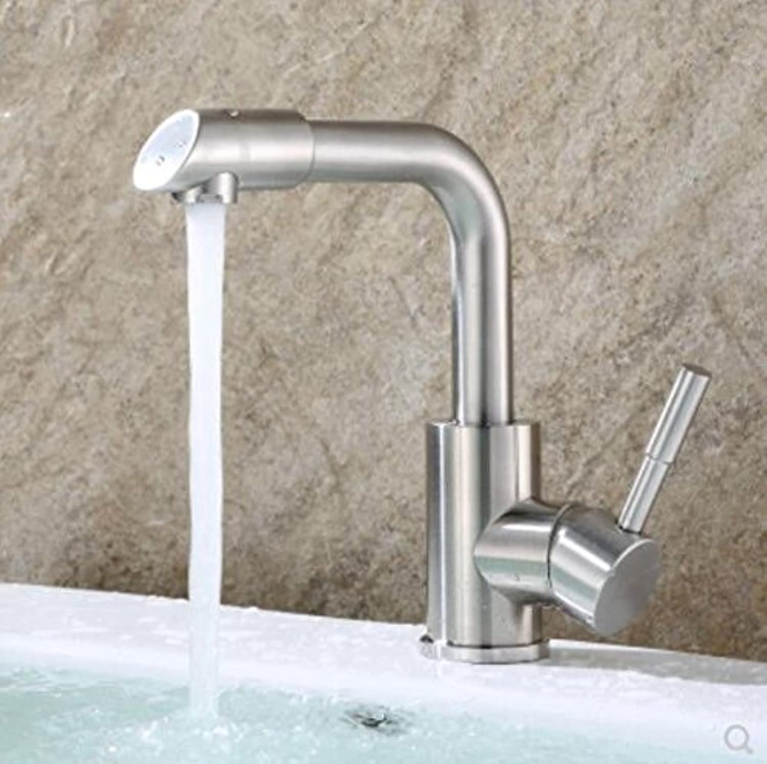 Decorry Washbasin Faucet Hot and Cold 304 Stainless Steel Faucet Toilet Single Hole Basin Basin Handbasin Basin Tap Ceramic Disc Spool 360 Degree redation