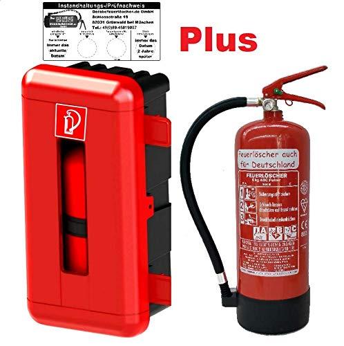Feuerlöscher 6kg ABC Pulverlöscher mit Manometer EN 3, Messingarmatur Sicherheitsventil (Mit Schutzbox Gimbox für LKW/PKW/Garage/Haus) (Mit Prüfnachweis und Jahresmarke)