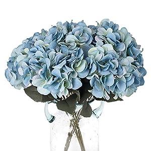 Louiesya Artificial Flowers Silk Hydrangea Flowers with 5 Big Heads Fake Flower Bunch Bouquet for Home Wedding Party Decor DIY