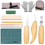 10 Pack Wood Carving Tools Kits, Wood Whittling Tools Set- Includes Carving Hook Knife, Whittling Knife, Chip Carving Knife, Carving Knife Sharpener for Spoon Bowl Cup Kuksa Woodworking