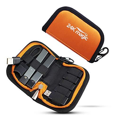 E-Zigarette Tragetasche Reisekoffer für Pod System Juul Vape Kit, Catriadges (Das Gerät ist nicht im Lieferumfang enthalten) (Orange)