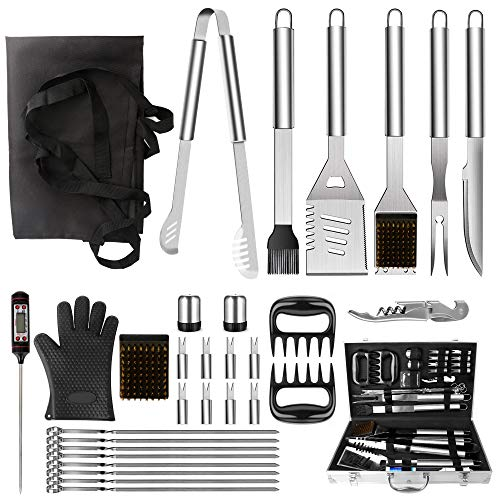 NEXGADGET BBQ Grill Tools Set, 32PCS Extra Thick Stainless Steel Grill Accessories with Long Handles, Carry Case, Grill Utensils Gift for Men Women Camping Backyard Barbecue