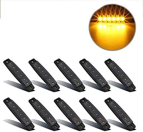 Partsam 10Pcs 3 8 Thin Amber Led Side Marker Clearance indicator Lights 6 LED Smoke Lens Waterproof product image