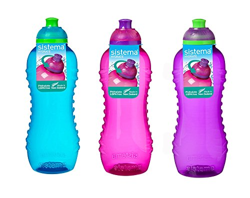 Sistema Trinkflasche, 460 ml, 3 Flaschen, Blau, Rosa, Lila