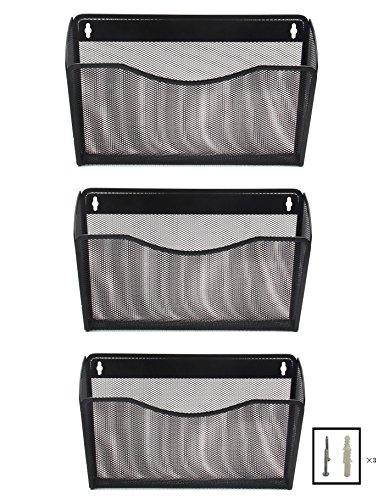 EasyPAG Mesh 3 Pockets Hanging File Organizer Wall File Holder Office Document Magazine Folder RackBlack