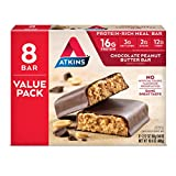Atkins Protein-Rich Meal Bar, Chocolate Peanut Butter, Keto Friendly, 8 Count