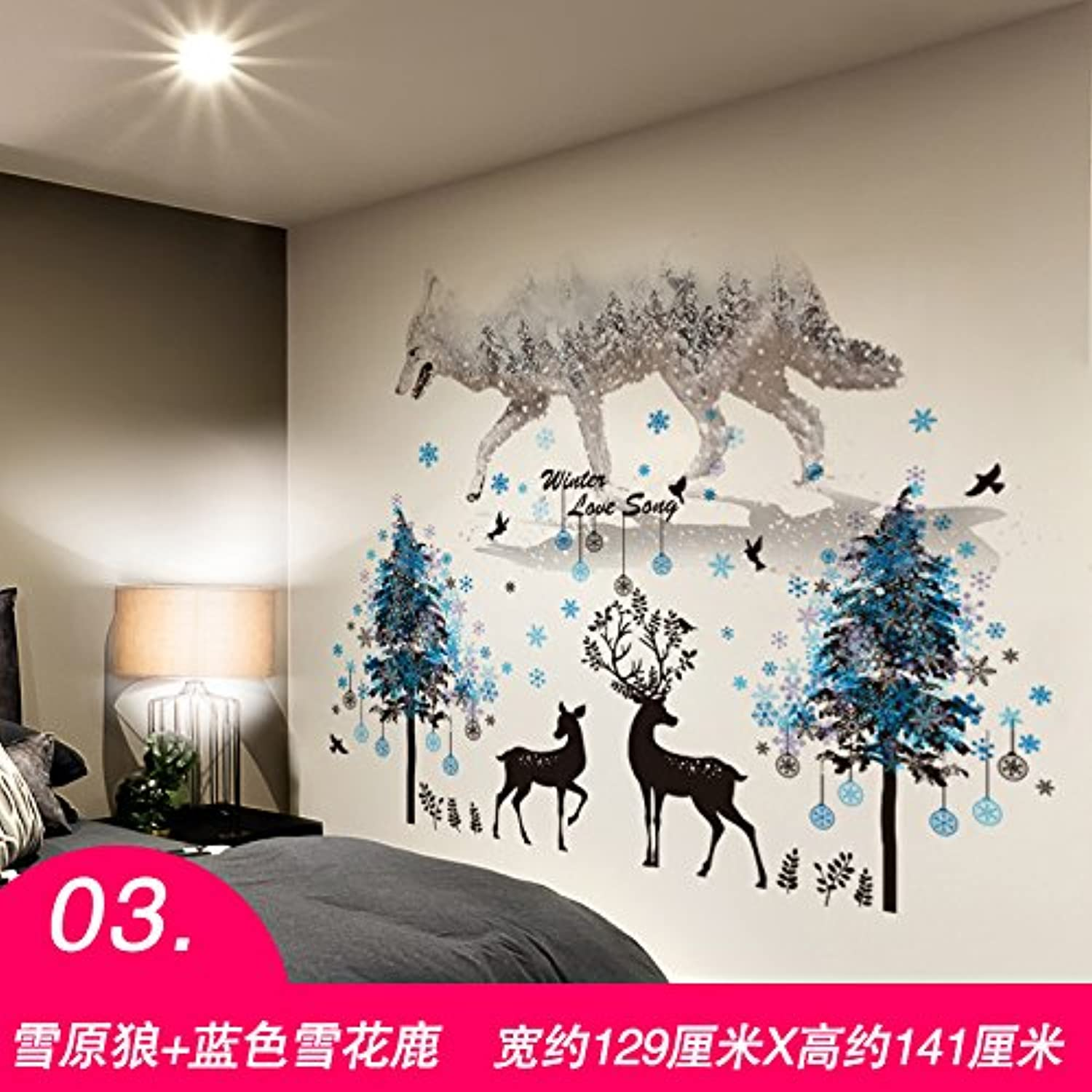 Znzbzt Creative 3D Wall Decals Bedroom Wall Decor self Adhesive Canvas Wall Painting, Deer and Wolf.