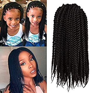 Micro Crochet Braids Kids (1 Pack) Crochet Twist Synthetic Hair Extension 10 inch Senegalese Mambo Twist (1B)