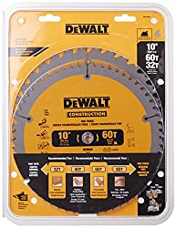 top rated DEWALT 10 inch miter / table saw blade, 60 tooth cross section and 32 tooth universal, combo … 2021