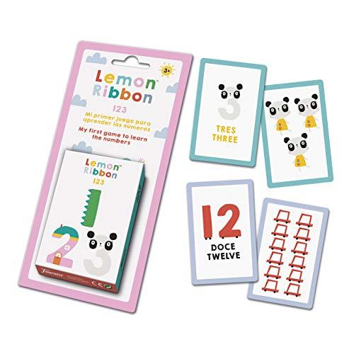 Fournier- Lemon Ribbon 1,2,3, Mi Primer Juego para Aprender los Números Baraja Educativa, Color Multiple (40 Cartas)