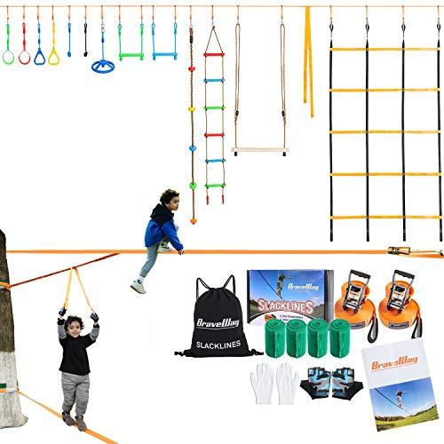 BRAVEWAY Ninja Warrior Hinderniskurs-Set für Kinder, 2 x 15 m, Ninja Line Slacklines und 2 x 3 m Ratschenschnüre, Affenstangen-Set mit 14 Zubehörteilen für Kinder und Erwachsene