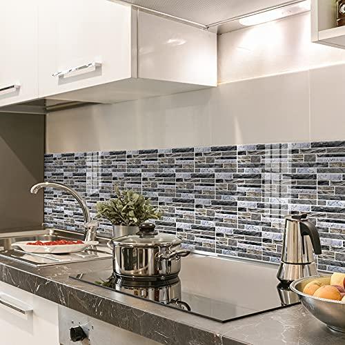 Swinno 9 adhesivos para azulejos en 3D, color marrón y azul, para simulación de azulejos de cocina, baño, salón (20 cm x 10 cm)