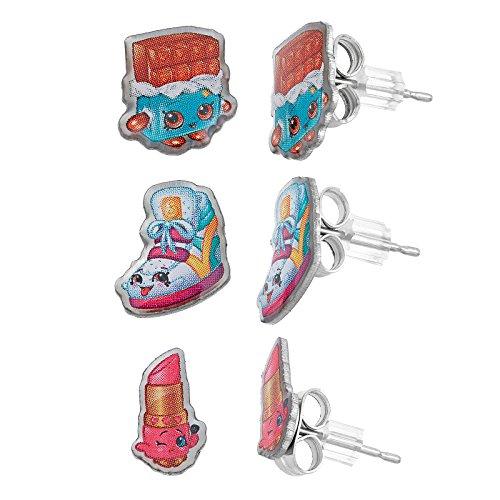 Shopkins Lippy Lips, Sneaky Wedge, Cheeky Chocolate Stud Earring Set
